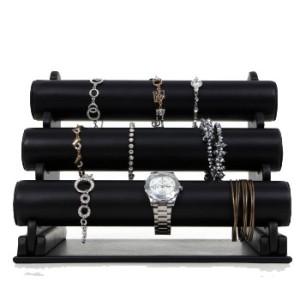 Monter smycken för klockor och armband i svart konstläder