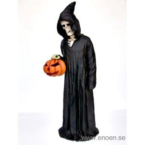 Halloween skelett  med pumpa höjd 170cm