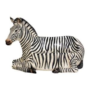 Zebra som sittbänk/parkbänk vilande i naturlig storlek 173 cm