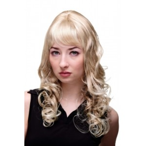 Peruk blond lång med lockar M-103