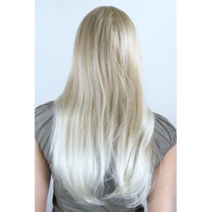 Peruk blond rakt långt hår med sidbena 55 cm