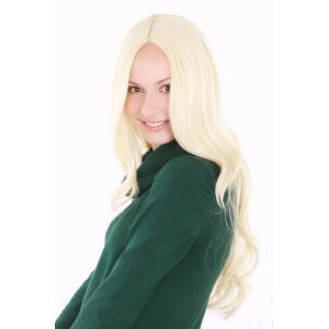 Peruk ljus blond långt hår med mittbena 60 cm