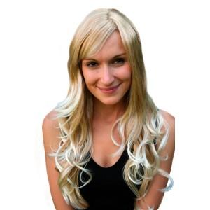 Peruk mellan blond långt hår 65 cm