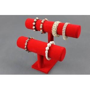 Display 2 rullar för smycken, armband och klockor färg svart, grå och röd i sammet