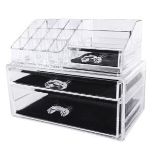 Ordning och reda i badrummet  Elegant transparent nagellack remover kosmetika förvaringsbox innehållande 2 lådor (1x låg, 1x platt) stor JKA004