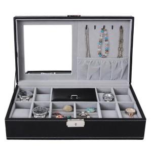 Klock och smyckes skrin/box med spegel krokar svart plats för 8 klockor samt smycken