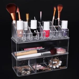 Ordning och reda i badrummet  ElegantTransparent kosmetika förvaringsbox innehållande 24 fack 23x9,5x20,5 cm JKA003