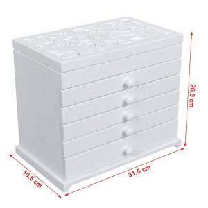Smyckeskrin/box med 6 lådor med spegel MDF Fiberboard vit