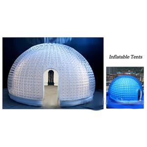 Uppblåsbara transparent kupoltält med vit insida10–20 m